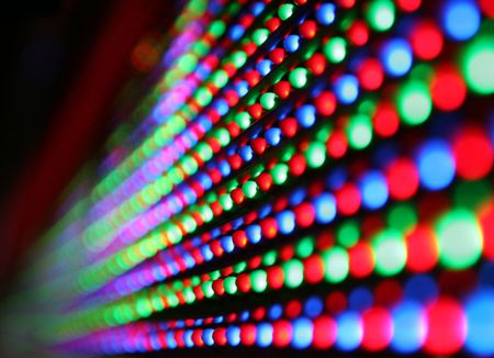 close-up of colourful led screen