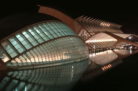the futuristic looking science centre in valencia, spain at night Stock Photo - 827734