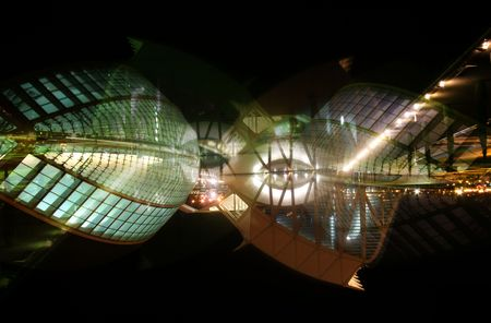 the futuristic looking science centre in valencia, spain at night Stock Photo - 827732