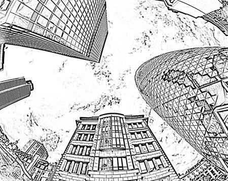 re design: fisheye of swiss re building in london with sky