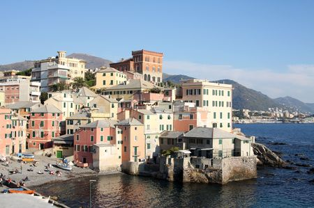 a shot of a pretty small harbour in genova, italy Stock Photo