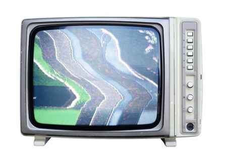 a wide angle shot of an old television Stock Photo