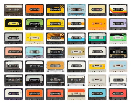 a large collection of retro cassette tapes places in a grid photo