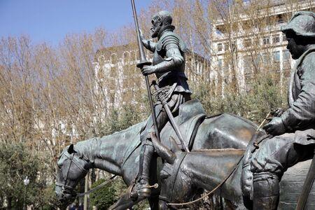 don quixote: la estatua de Don Quijote en Madrid, Espa�a Foto de archivo