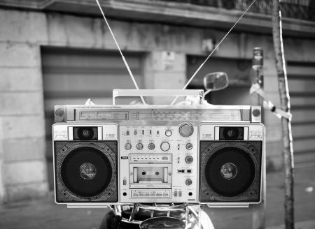 a fantastic looking retro ghetto blaster in an urban setting