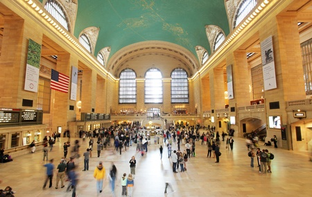 view of crowds in grand central terminal, new york, USA