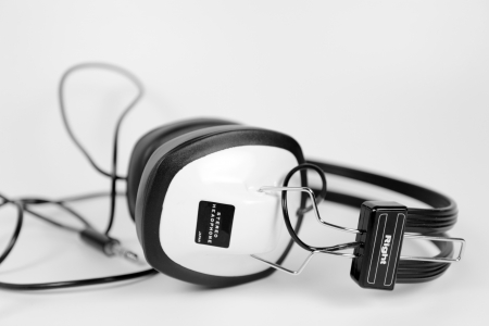 personal record: retro headphones shot against white Stock Photo