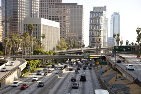 gridlock: view of downtown los angeles and freeways Editorial