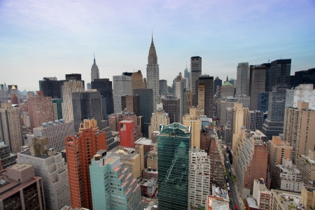 strret: skycrapers and towers in manhattan skyline view