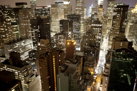 skycrapers and towers in manhattan skyline view at night