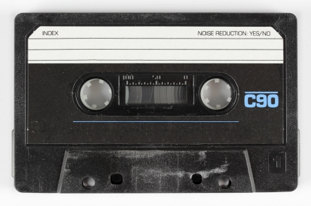 close-up of a music cassette photo