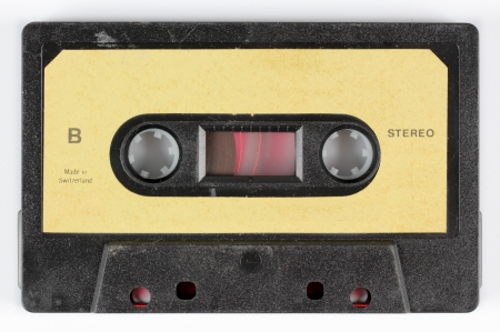 old spools: close-up of a music cassette