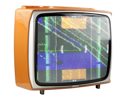 an old television with static on screen photo
