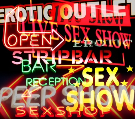 image made from signs and symbols taken in amsterdam's red light district Stock Photo - 16743031