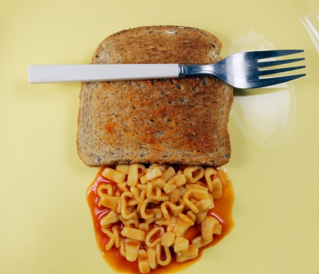 toast and pasta spagheti letters photo