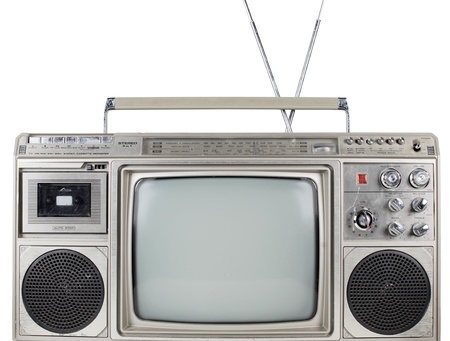 a fantastic looking retro ghetto blaster with built in television photo