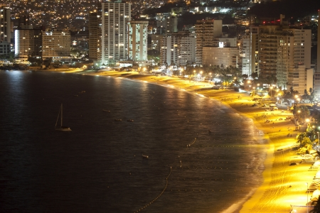 huge bay of hotels stretching along the coast in acapulco, mexico Editorial