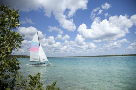 Bacalar lagoon. Quinatana Roo, Mexico photo