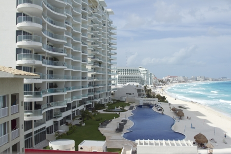 the bay of hotels stretching along the coast in cancun, mexico