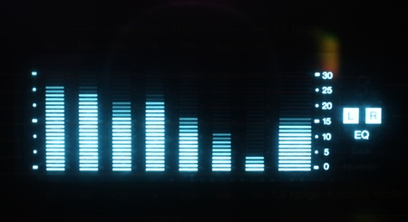 equalize: music graphic equalisers and audio analysis clip. shot from the display of a stereo hifi system