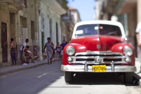 castro: clasic car in havana center, cuba