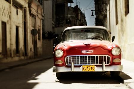 classic car in havana street scene, cuba
