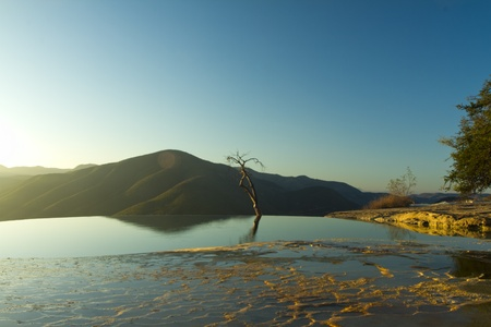 the unique and beautiful landscape of hierve el agua in oaxaca state, mexico Stock Photo - 16780369