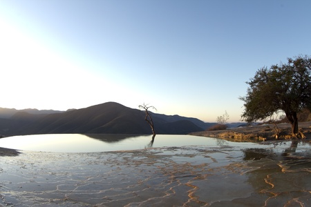 the unique and beautiful landscape of hierve el agua in oaxaca state, mexico Stock Photo - 16780376
