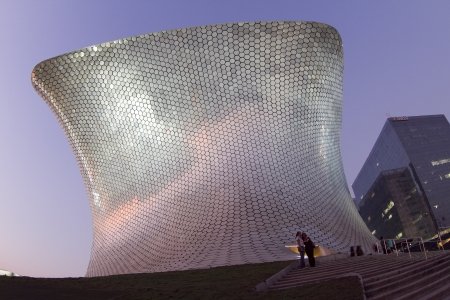 the very modern building soumaya museum in mexico city, during sunset. scene turns from day to night Stock Photo - 16781945