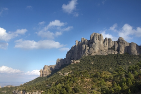catalonia: montserrat mountains, barcelona spain with clouds