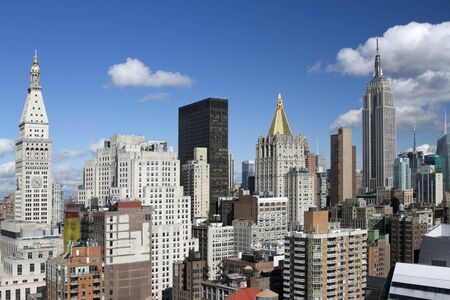 iconic: skycrapers and towers in amazing manhattan skyline view