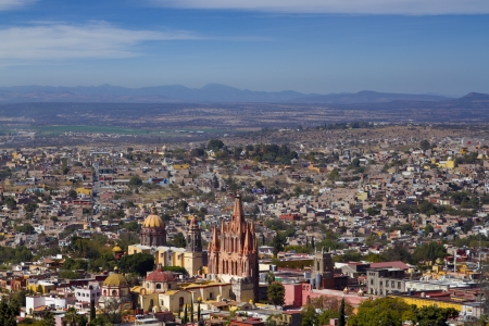 chappel: the skyline of the historic city of san miguel de allende, mexico