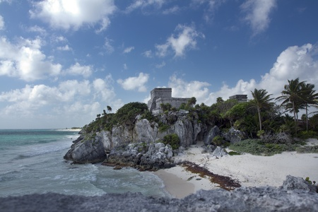 time-lapse of the mayan ruins at tulum, mexico. the mayans believe that transformative events will occur on 21 december 2012 photo