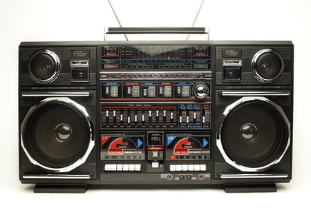 cassette tape: a fantastic looking oversized black retro ghetto blaster radio Stock Photo