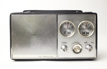 fm: a great looking vintage portable silver radio with cool FM and MW dials