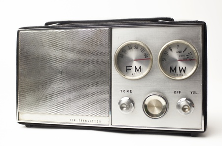 shortwave: a great looking vintage portable silver radio with cool FM and MW dials