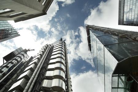 fisheye shot of london's financial centre focusing on lloyds of london building