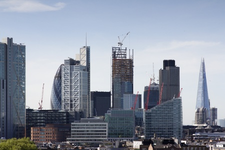 skyline shot of londons financial centre Stock Photo