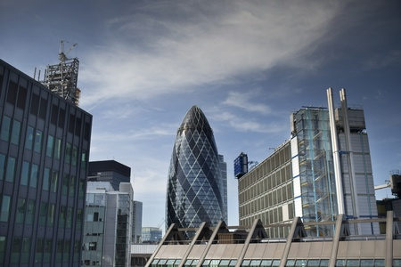 skyline shot of londons financial centre photo