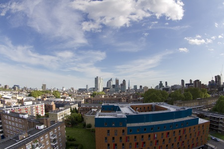 fisheye skyline shot of londons financial centre on a beautiful sunny day Editorial
