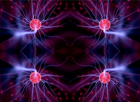 cool abstract light pattern made from an electric plasma ball  photo
