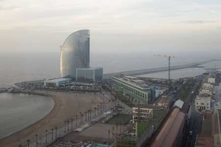 the beautiful barcelona skyline shot from a high vantage point photo