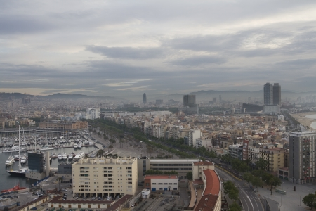 the beautiful barcelona skyline shot from a unique high vantage point