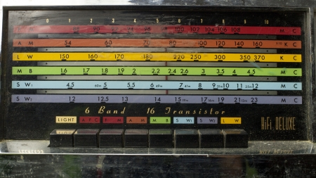 a radio with the marker running through the different stations and frequencies photo