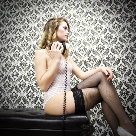 beautiful sexy disco woman against vintage wallpaper. Perfect for stylish club, disco and fashion events  photo