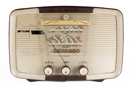 airwaves: a vintage transistor radio against white Editorial