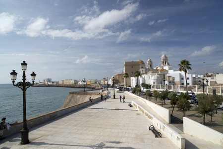 cadiz cathedral and sea front promenade Editorial