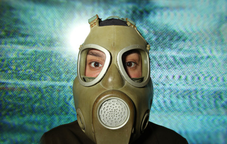 woman wearing gas mask with tv static in background photo