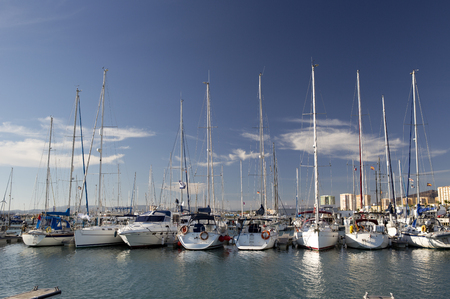 gibraltar: boats moored in la linia, next to gibraltar in southern spain Editorial