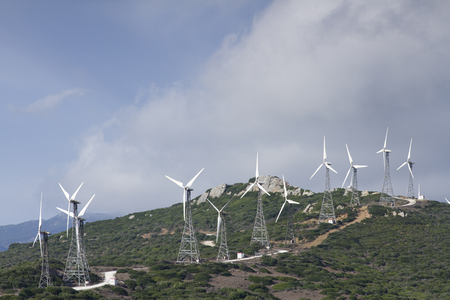 wind turbines on a hill top in tarifa, southern spain photo